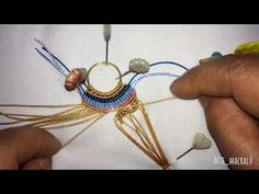 Tutorial aros by Arte Macralú. Macrame Colar, Macrame Necklace, Macrame Knots, Macrame Jewelry, Macrame Bracelets, Beaded Earrings, Macrame Earrings Tutorial, Micro Macrame Tutorial, Necklace Tutorial