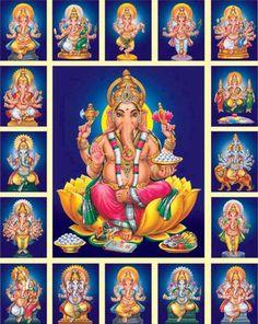 16 Forms of Ganesha Lord Ganesha Paintings, Lord Shiva Painting, Ganesha Art, Shri Ganesh, Jai Hanuman, Krishna, Ganesh Lord, Lord Murugan Wallpapers, Lord Vishnu Wallpapers