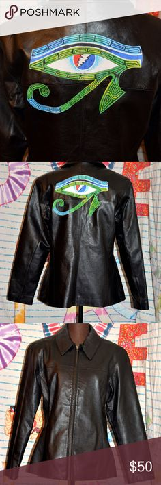Grateful Dead Eye of Horus Ra Egyptian Leather Lg This one of a kind creation is made from a new without tags vintage black leather jacket. It has front slit pockets, gorgeous silk blue lining that matches the back, and an amazing Grateful Dead applique on the back that is as beautiful as the jacket!   measures: Chest: 40 inches Hips: 44 inches Length: 27 inches  Care Directions: special leather professional cleaner only  I also make custom orders, just message me! Jackets & Coats
