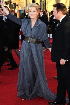SAG  JANUARY 29 2012 - Meryl Streep in a belted petrol blue dress.