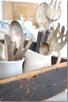 I'd love to collect old silver to be used on the cooking side of the kitchen -- since I've moved silverware into the breakfast room area.