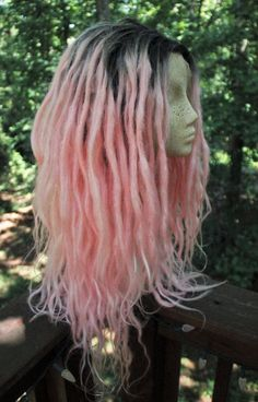 Pastel Pink Synthetic Lace Front Dreadlock Wig Pastel Goth