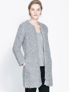 Grey Faux Fur Bodycon Zipper Outerwear