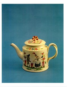 English Creamware enamel decorated tea pot. c.1780 via Etsy.