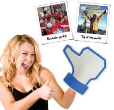 Be ready to like everything everywhere on all your pictures with the Giant I like foam thumb.