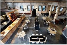 Industrial chic and check out the numbered tables