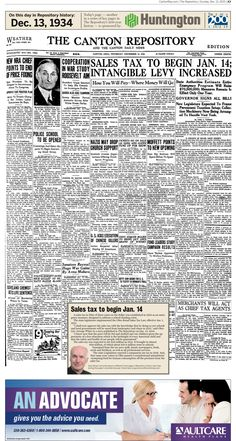 The introduction of a sales tax was front-page news in The Repository on Dec. 13, 1934.