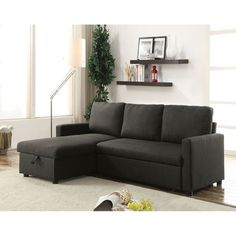 Hiltons Sectional Sofa with Sleeper & Storage Charcoal Linen