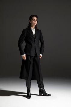 2020-21 A/W 002, Scottish Cheviot Wool 2B Single Tailored Jacket   DRC-J02-102F, Supima Cotton Ultra-high density Twill Button Down Collar Shirt  DRC-B01-001F, Scottish Cheviot Wool Culottes   DRC-P03-102F Button Down Collar Shirts, Tailored Jacket, 21st, Formal, Cotton, Jackets, Wool, Fashion, Gowns