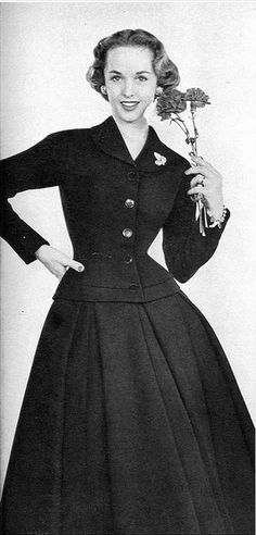 1952 Tippi Hedren in charming suit by Judy n' Jill, Vogue