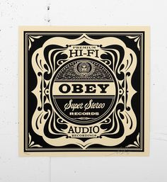 """Super Stereo by Shepard Fairey Screenprint Part of the Shades of Black"""" Boxset of album cover prints released by Obey Giant in Shepard Fairey Art, Pop Posters, Propaganda Art, Silk Screen Printing, Museum Of Fine Arts, Street Artists, Graphic Design Illustration, Graphic Design Inspiration, Typography Design"""