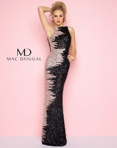 STYLE 4160L Black and Nude, fully sequined, boat neckline, floor length column dress with cowl back. Column prom dress!