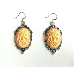 Sugar Skull Day of the Dead Cameo Dangling Drop Silver Earrings 18x25mm, soft peach and cream resin by OwlandTurtle on Etsy