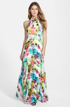 WOMEN'S ELIZA J PRINT CHIFFON HALTER MAXI DRESS Invigorating neons color the floral-printed chiffon that makes up this flowy, pleated gown. Adjustable ties at the nape and waist, plus an elastic-smocked back, fine-tune the comfortable fit. Halter Maxi Dresses, Chiffon Maxi Dress, Floral Maxi Dress, Dress Up, Pleated Maxi, Dress Ootd, Navy Maxi, Smocked Dresses, White Maxi