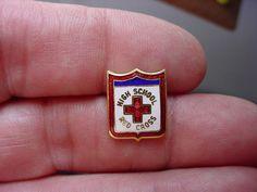 Vintage 1940s WWII High School Red Cross Beautiful Enamel Shield Lapel Pin WW2