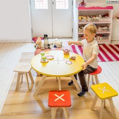 Anyone can assemble these tables and stools with ease, even children, so there is no need for dad to search for a drill. It is all very simple and creative – in the dining room, the lobby, childrens' room, in the playcorner at a coffee shop, in the living room – it's all up to you Playroom Table and Stool sets. #kids #playroom #kidsroom #furniture #ideas