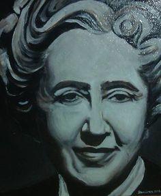 portrait of Agatha Christie,  akryl on canvas, 30cmx30cm + finish damar dope