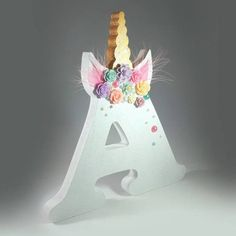 Unicorn Floral Decorated Letter - Birthday Centre Piece - Wooden Shelfie - Unicorn Theme Decor - Party - Gift For Girls
