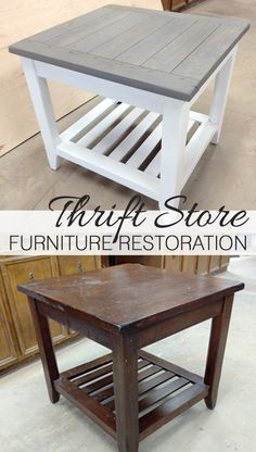 Thrift Store Furniture Restoration Refinishing Furniture Before and After How To Paint Furniture DIY Milk Paint Furniture Milk Paint Furniture, Diy Furniture Table, Thrift Store Furniture, Diy Furniture Projects, Refurbished Furniture, Farmhouse Furniture, Repurposed Furniture, Painted Furniture, Home Furniture
