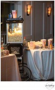 A popcorn bar at a w