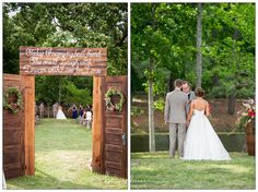 rustic doors for wedding ceremony | The Farm at Ridgeway wedding in Blythewood, SC | A rustic barn wedding venue with wagon wheels and wine barrels | Photographed by Columbia SC wedding photographer Kelly W Lucas