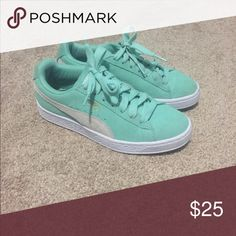 Puma suede mint green sneakers Super cute mint green color, only worn a couple of times, still in amazing condition. Puma Shoes Sneakers