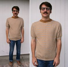 1960s Striped Short Sleeved Knit Sweater Shirt. $24 by Fancy Phantom on @Etsy #vintage #awesome #etsy #photo #men #fashion