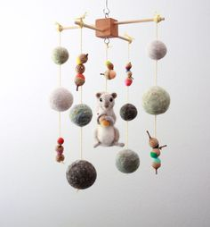 Needle Felted Squirrel and Acorn Woodland Nursery by MerleyBird