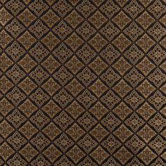 A0012C Midnight Gold Ivory Diamond Brocade Upholstery