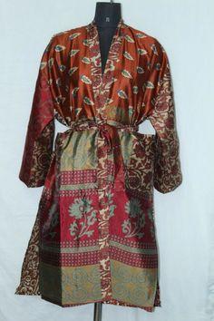 Woman's Patchwork Jacket Dress Vintage Bathrobe Indian Silk Sari Kimono Sk-1045 #Handmade #Kimono #AnyOccasionCasual