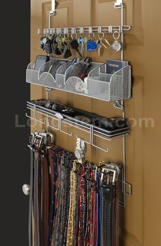 Men S Over The Door Wall Belt Tie Valet Organizer Silver