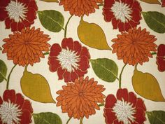 Richloom EMILY RUSSET Retro Floral Orange Home Decor Drapery Sewing Fabric  #Richloom