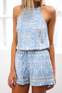 New Blue Aztec Print Play Suit Arrival Summer 2015 Fashion Looks. Teen Fashion, Womens Fashion, Fashion Trends, Luxury Fashion, Urban Fashion, Runway Fashion, Fashion Style For Teens, Fashion Ideas, Boho Trends