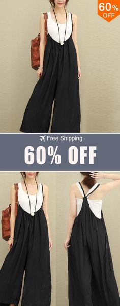 892e5654a090 S-5XL Women Casual Sleeveless Strap Baggy Wide Leg Pant Jumpsuit Rompers.The  most