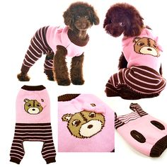 Pink Cute Bear Dog Sweater JumperOne piece sweater jumper with striped pants, cute bear face with bowtie, and convenient leash hole around the collar. Choice of Pink or Blue (Sold Separately)Sizes XS - XL - Small to Medium size dogsUsually ships in 5 - 7 business days     SIZE   Neck   Girth   Length      XXS   5 - 7.5 inches  8.5 - 10.5 inches  5 - 7.5 inches     XS   7.5 - 9.5 inches  10.5 - 13 inches  7.5 - 10 inches     S   9 - 11 inches  12.5 - 16 inches  9.5 - 12 i