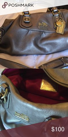Coach handbag Casual bronze leather Madison bag with gold accents. This bag has a shoulder strap as well as handles. Very good condition. Coach Bags Shoulder Bags