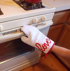 White Oven Mitt with Red Love Screen Print by Graceful Works
