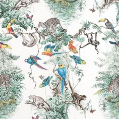#Hermès #Wallpaper: EQUATEUR col. M01  The iconic #design by Robert Dallet created in 1988 presents a vision on a grand scale of equatorial flora and fauna