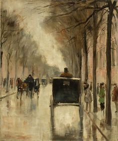 Lesser Ury (German, 1861-1931), Berliner Straßenszene im Spätherbst [Berlin street scene in late autumn], c.1920-25. Oil on canvas, 47 × 39 cm.