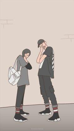 Cute Couple Wallpaper, Wallpaper Iphone Cute, Anime Couples Drawings, Couple Drawings, Cute Couple Art, Cute Couples, Couple Hijab, Cover Wattpad, Islamic Cartoon
