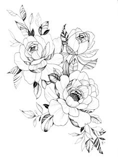 Peonies T-shirt by baileyreneekennedy - Black - LARGE - Mens Fitted Tee Tatto Floral, Floral Tattoo Design, Flower Tattoo Designs, Flower Tattoos, Peony Drawing, Floral Drawing, Cute Tattoos, Body Art Tattoos, Sleeve Tattoos