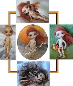 """Fidelia Firefly """"DINKY"""" just after opening and giving her a faceup and body-up and a little carving ,,, a Charles Creature Cabinet  Faerie Fairy BJD Doll"""