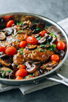 Drunken Chicken Marsala with Tomatoes - full of flavor and vibrant color, plus the most delicious pan-fried chicken.