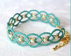 Tatting lace bracelet Glass beads jewellery Hand by TattingLand