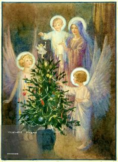 Margaret Tarrant - 'In the Quiet Night'- Mary and Jesus with 2 Angels and Christmas Tree. Vintage Christmas Cards, Christmas Love, Christmas Pictures, Christmas Angels, Christmas Holidays, Catholic Art, Religious Art, Christian Images, True Meaning Of Christmas