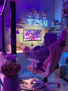 Bedroom Setup, Room Design Bedroom, Room Ideas Bedroom, Game Room Decor, Teen Room Decor, Gaming Room Setup, Pc Setup, Neon Room, Cute Room Ideas