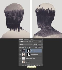 use Add vector mask and rotate the forest image
