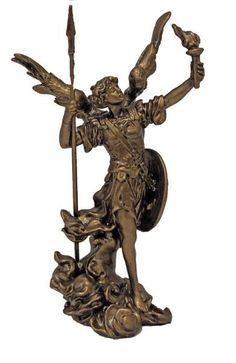 Archangel Uriel figure in a rich cold cast bronze finish. Uriel means God is light. Uriel is one of the seven angels. Isaiah 63:9 In all their affliction he was