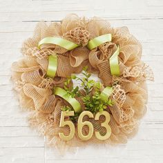 DIY Natural Burlap and Mesh Home Address Wreath is a stylish way to display your house number!