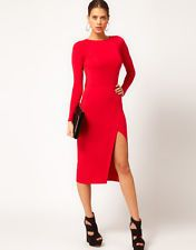 S, Solid, Red, long sleeve Asos midi bodycon dress w cutout back and thigh split